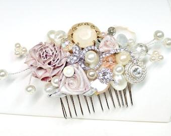 Blush Bridal Comb -Vintage Bridal Hair Clip- Floral Wedding Hair Piece- Blush Wedding Hair Accessories-Champagne pink Hair comb-Brass Boheme