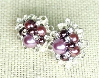 Plum Earrings- Eggplant Bridal Earrings- Plum Post Earrings- Eggplant Stud Earrings- Plum Stud Earrings-Purple Bridal Earrings- Brass Boheme