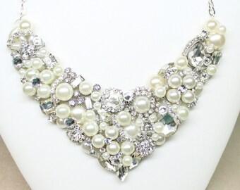 Pearl and Rhinestone Bridal Bib- Bridal Statement Necklace-Swarovski Crystal Wedding Necklace- Pearl Bib Necklace-Rhinestone Bridal Necklace