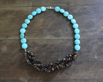 Braided Tiger Eye and Magnesite Statement Necklace