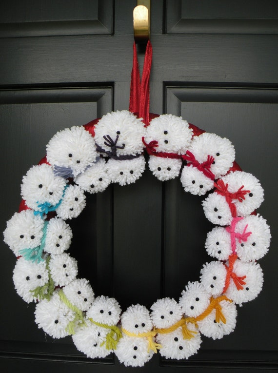 18 pom pom snowman winter wreath - Bonhomme de neige decoration exterieure ...