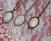 Petite White Rainbow Moonstone Opal Victorian Vintage Inspired necklace with chain Christmas gift