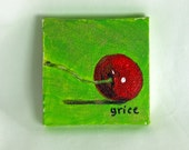 A Long Stem Cherry by Audrey Grice // miniature painting