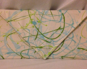 Paint Stripe Clutch - Blue and Green