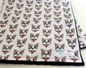 Baby Blanket, Boston Terrier Blanket, Boston Blanket, Toddler Blanket,  Augie and Lola Blanket, Handmade Baby Blanket