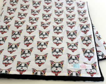 Baby Blanket, Boston Terrier Blanket, Boston Blanket, Toddler Blanket,  Augie and Lola Blanket, Handmade Baby Blanket
