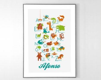 Personalized Portuguese Alphabet Poster with animals from A to Z, BIG POSTER 13x19 inches - Baby Children Nursery Custom Wall Print Poster