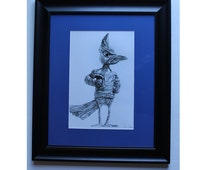 """Creighton  Billy the Bluejay drawing framed  art print limited edition 16""""x20"""" by Pierre Bolouvi"""