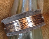 Every little thing is gonna be alright-  Etched Metal and Khaki Cuff Bracelet with Rhinestone Rivets