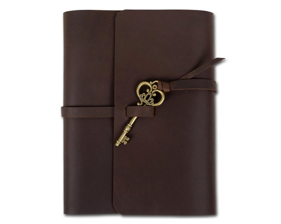 Unique Leather Journal Diary Guestbook Close with Vintage Key Blank Lined Craft Paper Handmade Brown A5 with Gift Box