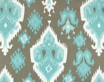 """TWO Curtain Panels, 25"""" x 84"""" - SeaFoam and light blue, white, and chocolate brown"""