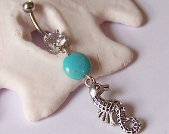 Belly Button Ring - Piercing - Curved Barbell - Navel Piercing - Tibetan Silver Seahorse with Magnesite Coin READY TO SHIP