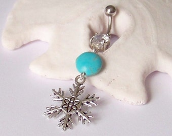 Belly Button Ring - Charm Belly Ring - Belly Button Jewelry - Snowflake Belly Ring With Magnesite Coin - Standard Barbell or Reverse Drop