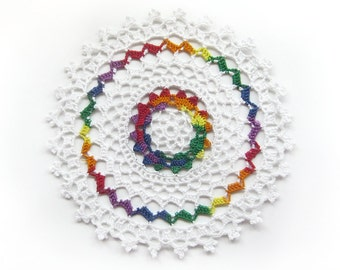 """Rainbow White Lace Doily - Heart's Delight - Handmade Crochet, 7"""", Cotton - Colorful Love Valentine's Day Wedding Equality Home Decor"""