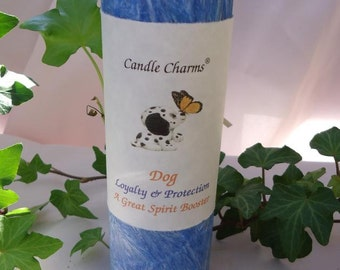 Animal Totem Dog Blue Magickal 2 x 6 Palm Wax Pillar Candle