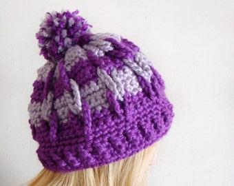 Crochet Pom Hat, Textured Purple Hat, Radiant Orchid Striped Cap, Striped Pom Pom Hat, Crochet Purple Toboggan, Pom Stripe Toboggan