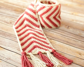Crochet Pattern - Chevron Ripple Scarf Pattern (Perfect for the whole family ... women, men, kids) - Instant Download  PDF