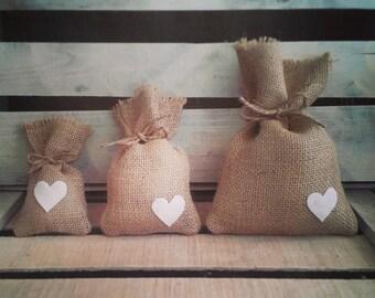 "Set of 12- Small (3""x6"") Burlap Heart Favor Bags w/ Jute Twine- CUSTOM COLORS-Country/Folk/Americana/Rustic/Weddings/Party"