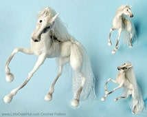 043 Horse White Dream with wire frame - Amigurumi Crochet Pattern PDF file by Pertseva Etsy