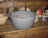 Antique Gray Graniteware Kettle Pot
