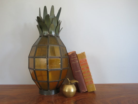 Vintage Pineapple Lantern Stained Glass Style Large Candle