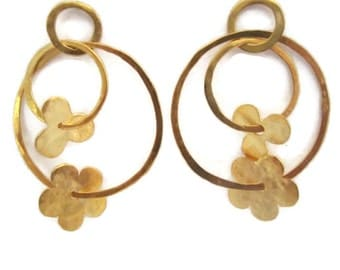 Large Gold Hoops, Hoop Post Earrings, Flower Earring, Gypsy  Big Hoop Earrings, Artisan Handmade