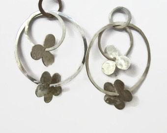 Flower Earrings, Large Silver  Hoops, Hoop Post Earrings, Large Gypsy Hoop Earrings, Artisan Handmade  by Sheri Beryl