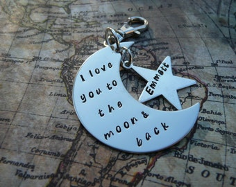 Hand stamped metal keyring, Moon keychain, I love you to the moon and back, personalise