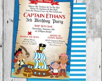 Jake and the Neverland Pirate Invitations, Jake and the Neverland Pirates Invitation, Jake and the Neverland Pirate Birthday Party Invites
