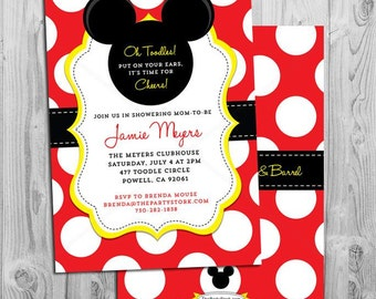 mickey mouse baby shower  etsy, Baby shower invitations