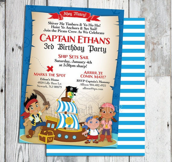 jake and the neverland pirate invitations jake and the, Invitation templates