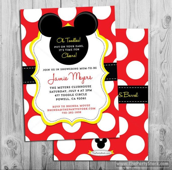It is an image of Decisive Mickey Mouse Baby Shower Invitations Printable