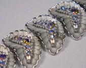 Flamboyant Silver Tone  Aurora Borealis Rhinestone Bracelet, Vintage