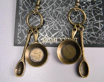 80s JJ. Pan and Spoon Vintage Pierced Earrings, Modern, Kitchen, Cooks