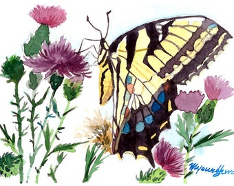 ACEO Limited Edition 3/25 - Butterfly at the thistle field