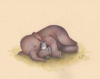 ORIGINAL PAINTING Sleeping Baby Elephant