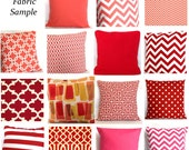 Pillow Fabric Sample - Corals, Reds, Pinks - Pick Solid and Print Fabric Swatches for Decorative Throw Cushions - COUPON Included