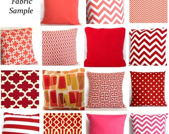 Fabric Sample - Corals, Reds, Pinks - Pick Solid and Print Fabric Swatches for Decorative Throw Cushions - COUPON Included