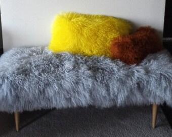 Mongolian Lamb Fur Bench Midcentury Modern  Legs Gray . Sheepskin