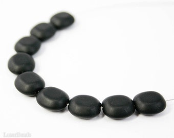 Black Rectangle Beads 10mm (20) Czech Glass Geometry Rounded Frosted Matte Flat