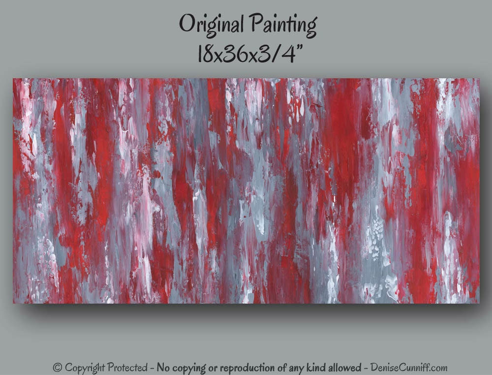 Large Wall Art Abstract Red And Gray Home Decor Office