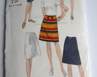 Vintage Vogue 1960's Sewing Pattern for skirt  Waist 28 Hip 38 Vogue 7008