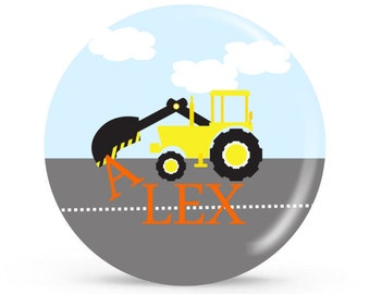 Personalized Plate - Construction Digger  - Personalized Plate for Boys
