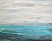 "Beach Art Seascape Painting Aqua Gray Black White 24"" x 20"" Canvas"