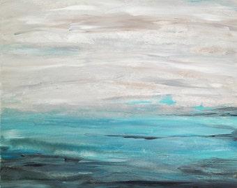 "Beach Art Seascape Painting Abstract Aqua Gray Black White 24"" x 20"" Canvas"