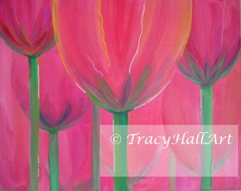"""Flower Painting Spring Tulips Coral Pink Modern Art Canvas 20"""" x 16"""""""