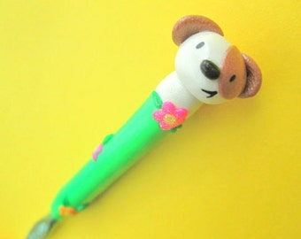 Puppy CROCHET hOOK- HANDMADE polymer grip on Boye size I
