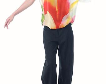 Printed silk satin-chiffon blouse.