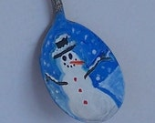 Sale 20%Off CouponCode SAVE20NOW  Christmas Snowman Ornament Painted Vintage Spoon
