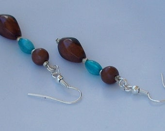 Aqua and Brown Dangle Earrings Southwest Inspired Jewelry Fall Season Sale 16 % OFF Coupon Code FALL16